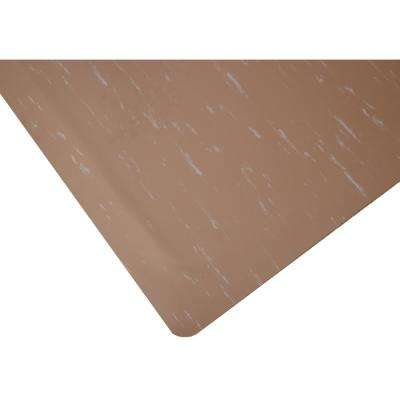 Marbleized Tile Top Anti-Fatigue Commercial 3 ft. x 17 ft. x 7/8 in. Brown DS Vinyl Mat