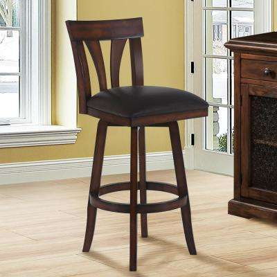 Salem 30 in. Brown Faux Leather and Pecan Wood Finish Swivel Barstool