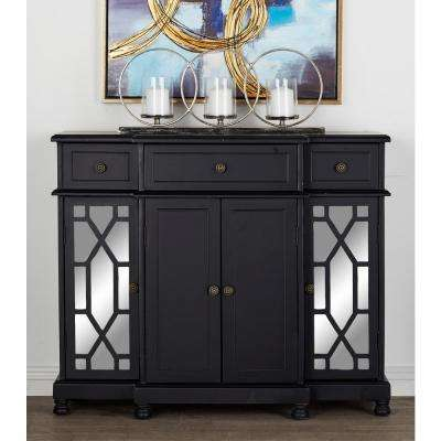 Polished Onyx Black with Mirrored Glass Paneling Storage Cabinet with 3-Top Drawers