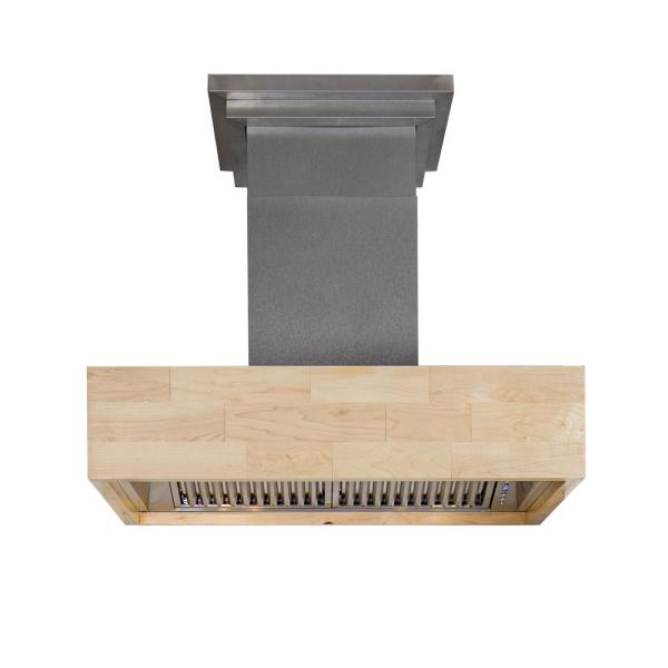 ZLINE Kitchen and Bath ZLINE 42 in.  Designer Series Wooden Island Mount Range Hood in Butcher Block (681iM-42)
