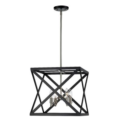 Ackerman 4-Light Black and Brushed Nickel Caged Pendant with Metal Shade