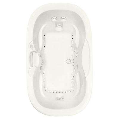 Universal Oval 70 in. Acrylic Center Drain Oval Drop-In Air Bath/ Whirlpool Bathtub with Heater in Biscuit