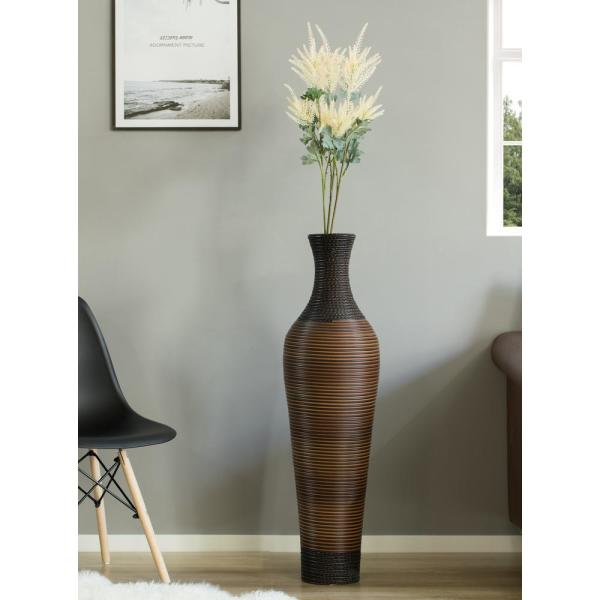 Uniquewise 39 In Tall Dark Brown Decorative Artificial Rattan Standing Floor Vase Qi003825 The Home Depot