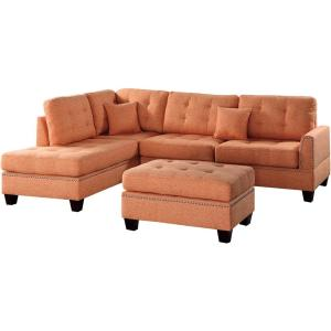 Barcelona 3 Piece Sectional Sofa In Citrus With Ottoman