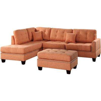 Barcelona 3-Piece Sectional Sofa in Citrus with Ottoman