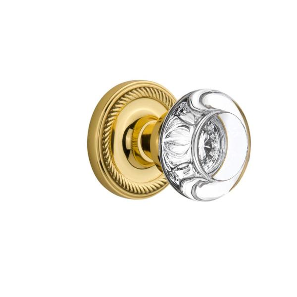 Nostalgic Warehouse Rope Rosette 2 3 4 In Backset Polished Brass Privacy Bed Bath Round Clear Crystal Glass Door Knob 717685 The Home Depot