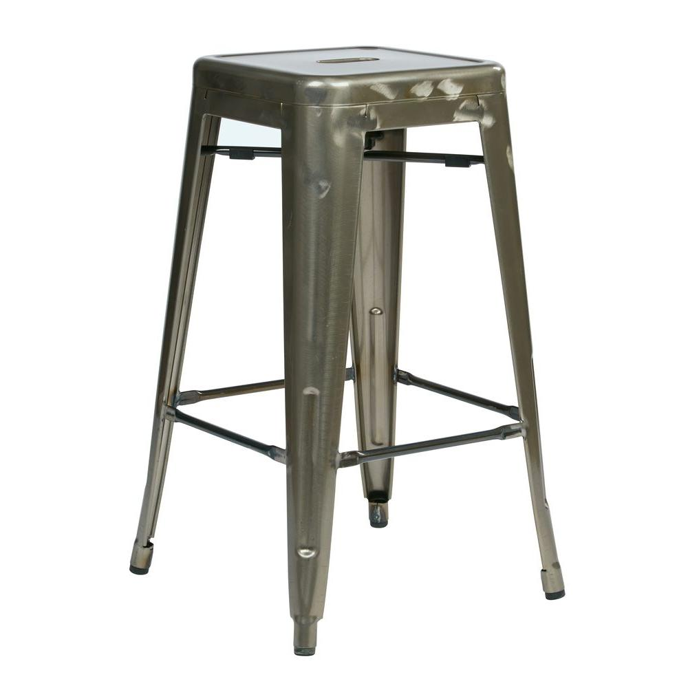 Gunmetal Bar Stool Set Of 2