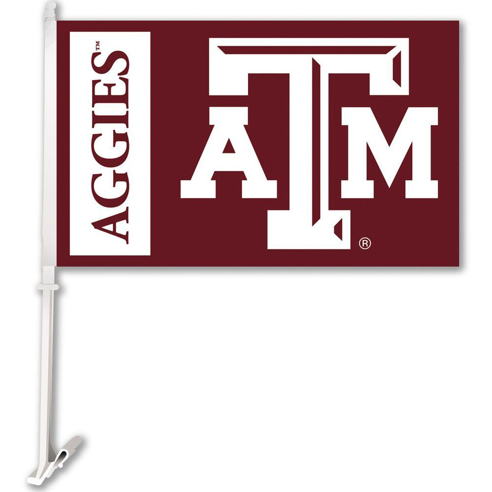BSI Products NCAA 11 in. x 18 in. Texas A&M 2-Sided Car Flag with 1-1/2 ft. Plastic Flagpole (Set of 2)