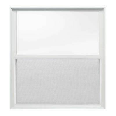 37.375 in. x 40 in. W-2500 Series White Painted Clad Wood Double Hung Window w/ Natural Interior and Screen