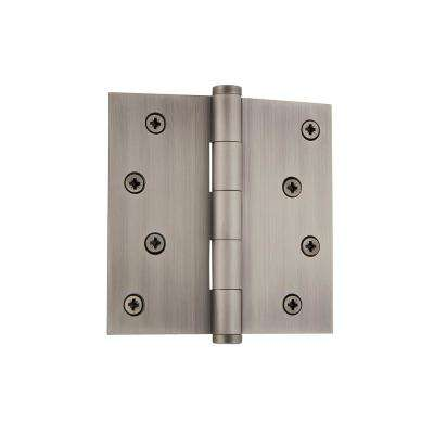 4 in. Button Tip Residential Hinge with Square Corners in Antique Pewter