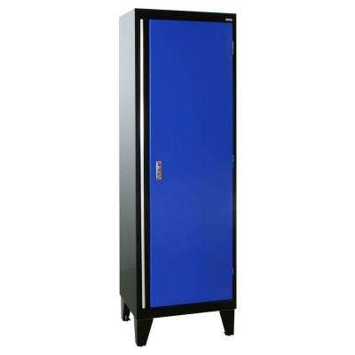 24 in. W x 18 in. D x 79 in. H Modular Steel Single Door Cabinet, Full Pull in Black/Blue