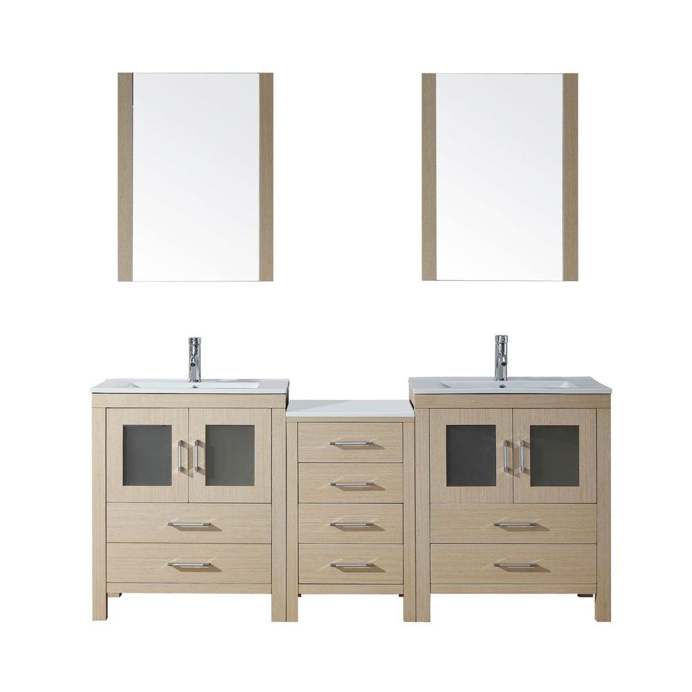 Virtu USA Dior 74 in. Double Vanity in Light Oak with Ceramic Vanity Top in White and Mirrors