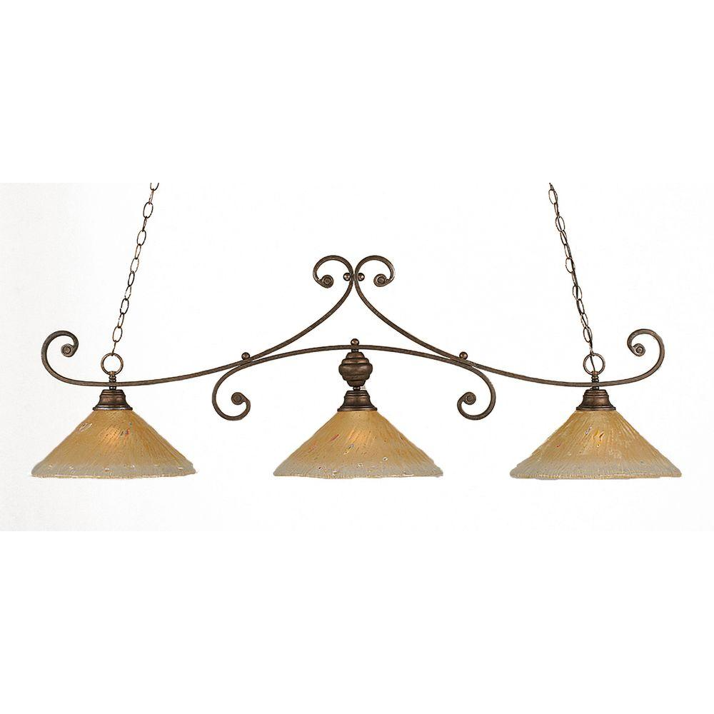 Filament Design Concord 3 Light Ceiling Bronze Incandescent Island Pendant-DISCONTINUED