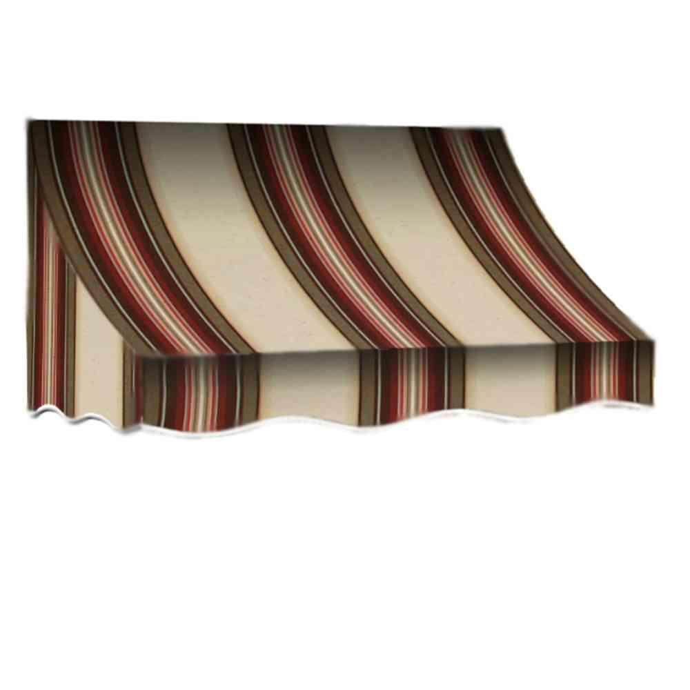 AWNTECH 14 ft. Nantucket Window/Entry Awning (56 in. H x 48 in. D) in Brown/Terra Cotta Stripe