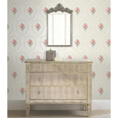 56.4 sq. ft. Camellia White Floral Cameo Wallpaper