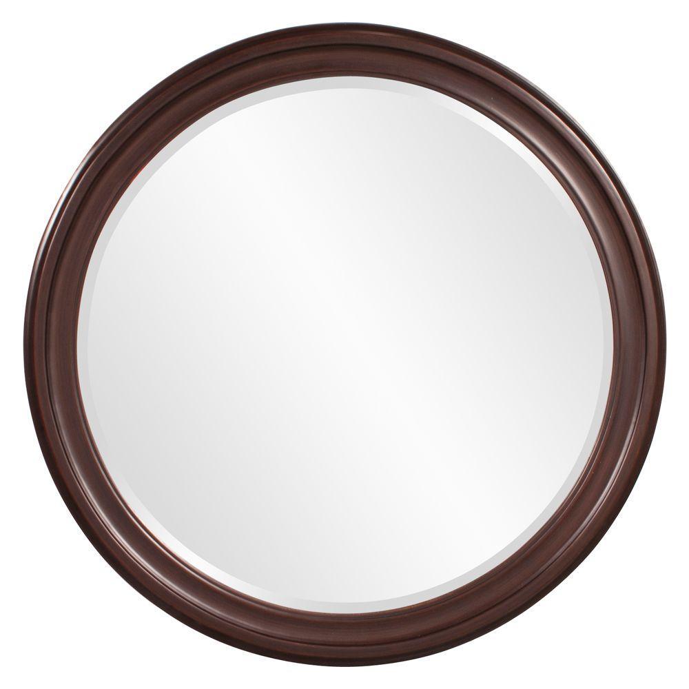 null 36 in. x 36 in. x 1 in. Wenge Brown Vanity Framed Mirror