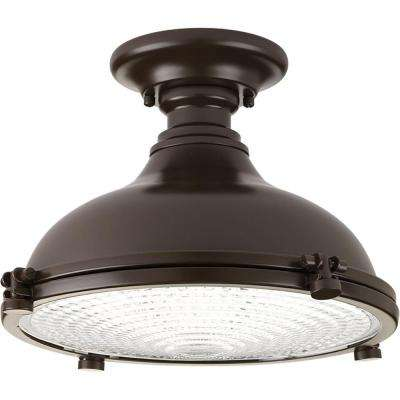 Fresnel Lens Collection 17 -Watt Oil Rubbed Bronze Integrated LED Semi-Flushmount