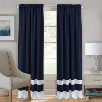 52 in. W x 84 in. L Darcy Navy/White Polyester Rod Pocket Curtain