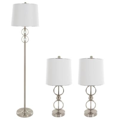 62.5 in. Brushed Steel Modern Circles Lamp Set (3-Piece)