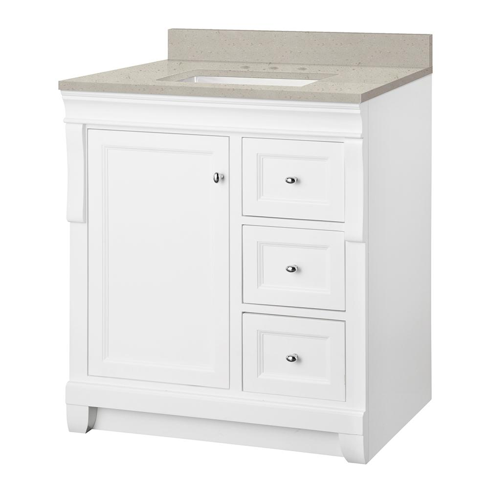 Home Decorators Collection Naples 31 in. W x 22 in. Bath Vanity Cabinet in White with Engineered Quartz Vanity Top in Stoneybrook with White Sink