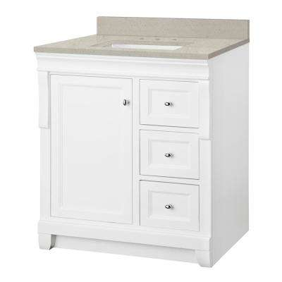 Naples 31 in. W x 22 in. Bath Vanity Cabinet in White with Engineered Quartz Vanity Top in Stoneybrook with White Sink