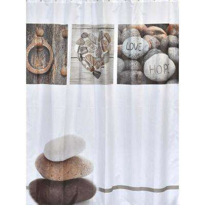 Design Nature 71 in. x 79 in. Multicolored Polyester Fabric Shower Curtain
