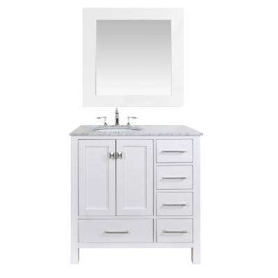 Malibu 36 in. Vanity in Pure White with Marble Vanity Top and Mirror in White