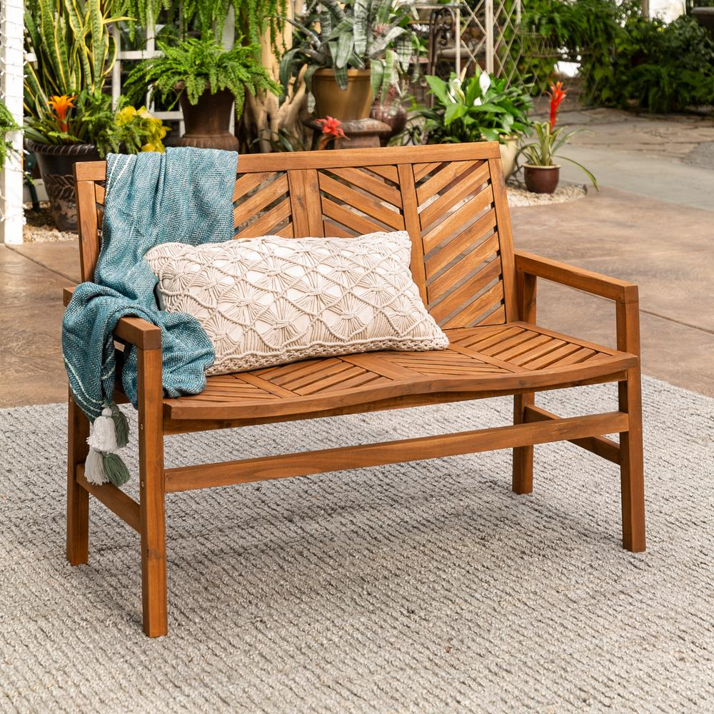 Walker Edison Furniture Company Brown Acacia Wood Outdoor Loveseat with Chevron Design
