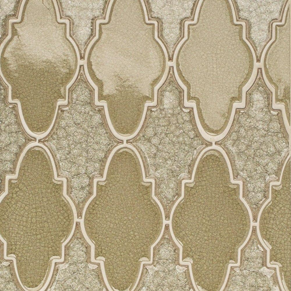 Ivy Hill Tile Roman Selection Iced Tan Arabesque Glass Mosaic Tile - 3 in. x