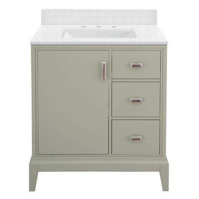 Shaelyn 31 in. W x 22 in. D Bath Vanity in Sage Green RH with Engineered Marble Vanity Top in Snowstorm with White Sink