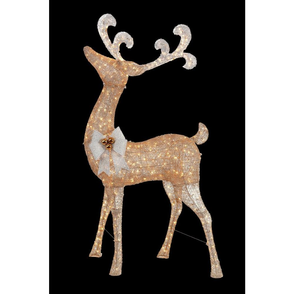 Home Accents Holiday 91 in. Pre-Lit Gold Standing Deer-TY499-1511 - The Home Depot