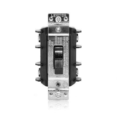 30 Amp 600 Volt Industrial Grade Double Pole Single Phase AC Manual Motor Controller Toggle Switch - Black