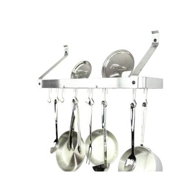 Handcrafted 36 in. Gourmet Bookshelf Wall Rack with Straight Arm and 12-Hooks Stainless Steel