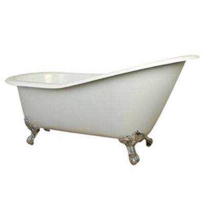 5 ft. Cast Iron Polished Chrome Claw Foot Slipper Tub with 7 in. Deck Holes in White