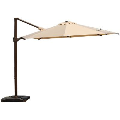 10 ft. 360-Degree Rotating Aluminum Cantilever Patio Umbrella with Base Weight in Beige
