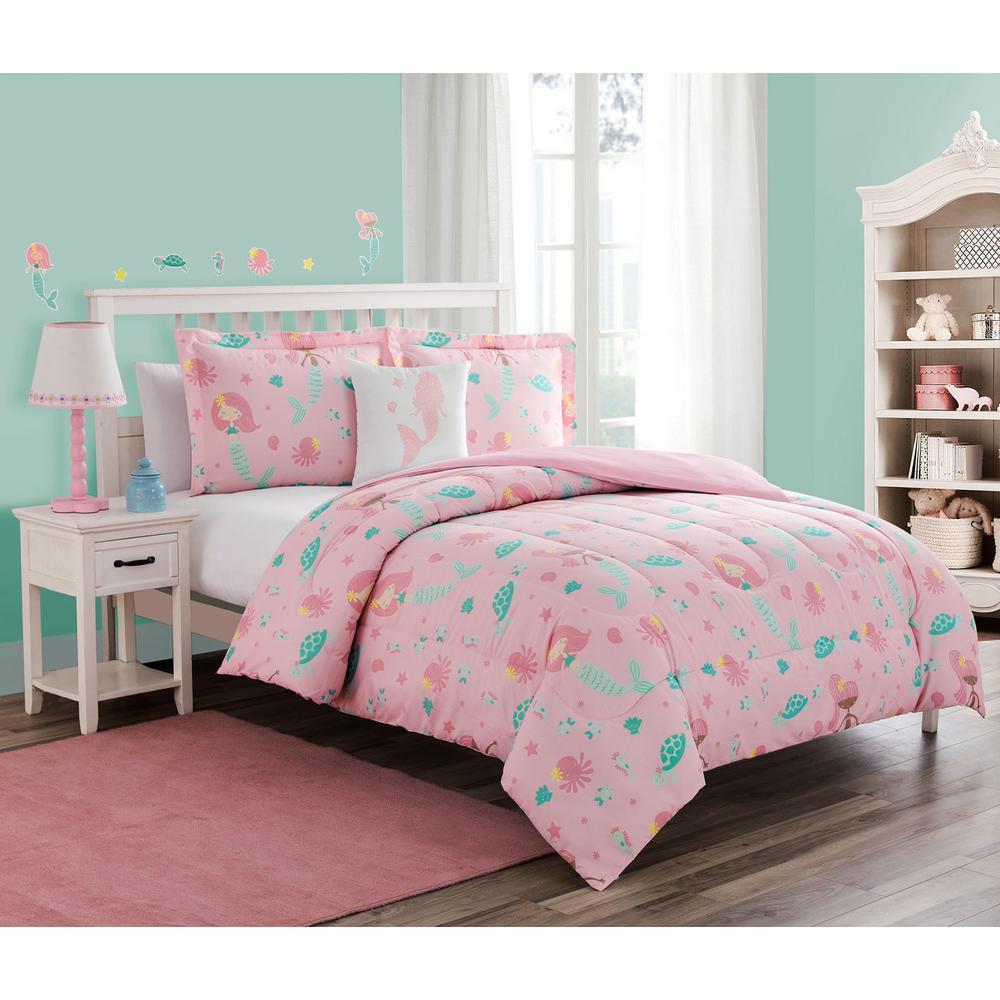 Sea Princess 3-Piece Pink Twin Comforter Set with Decorative Pillow