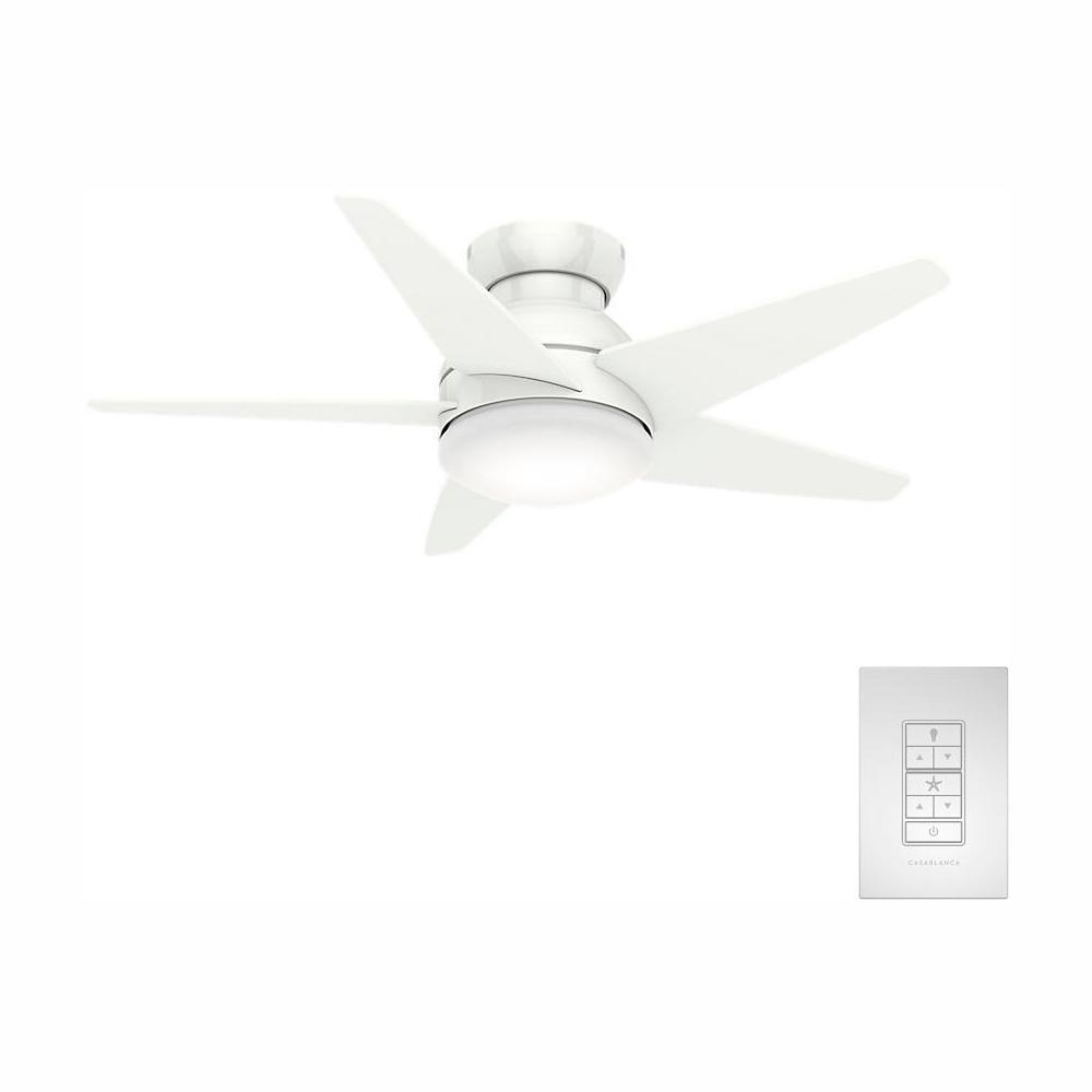 Casablanca Isotope 44 in. LED Fresh White Indoor Ceiling Fan with Light and Wall Control