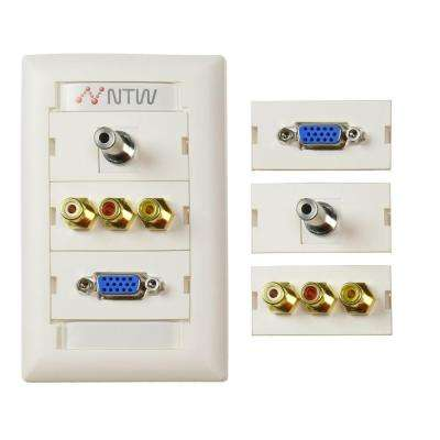 Customizable Unimedia VGA, 3.5 mm Audio, Composite Video and RCA Stereo Audio Pass Through Wall Plate and ID Tag, White