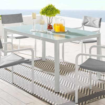 Raleigh 59 in. Outdoor Patio Aluminum Dining Table in White