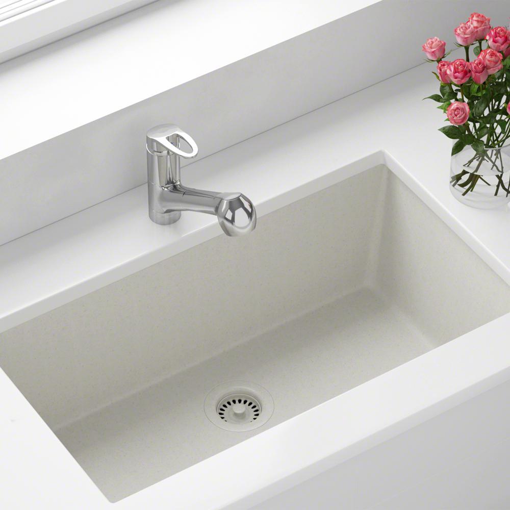 MR Direct All-in-One Undermount Quartz 32.625 in. 0-Hole Single Bowl  Kitchen Sink in White