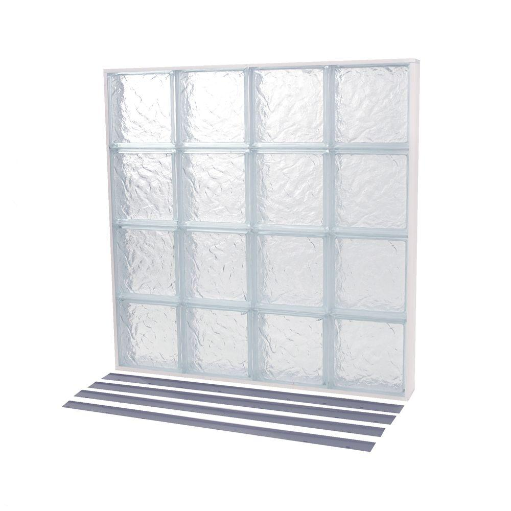 35.375 in. x 37.378 in. NailUp2 Ice Pattern Solid Glass Block