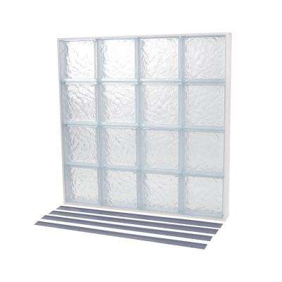 52.875 in. x 37.378 in. NailUp2 Ice Pattern Solid Glass Block Window
