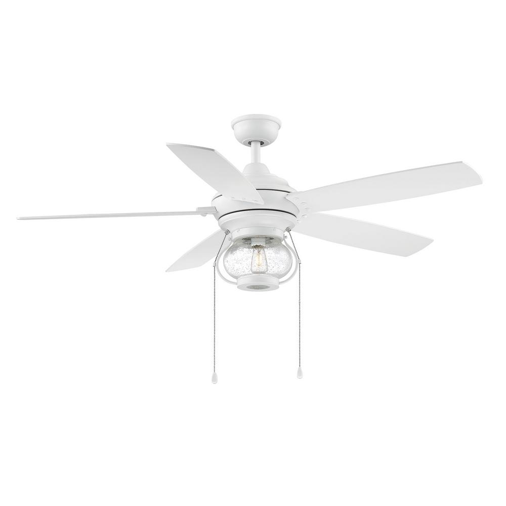 Home Decorators Collection Raina52 in. LED Outdoor Matte White Ceiling Fan with Light