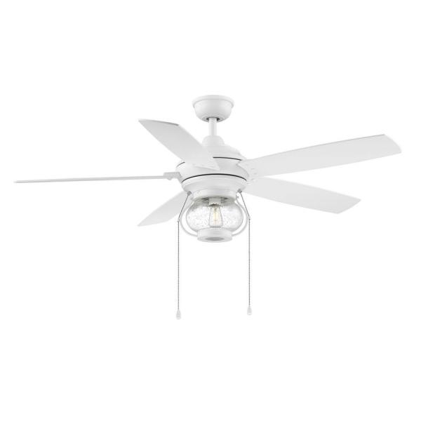 Raina 52 in. LED Outdoor Matte White Ceiling Fan with Light
