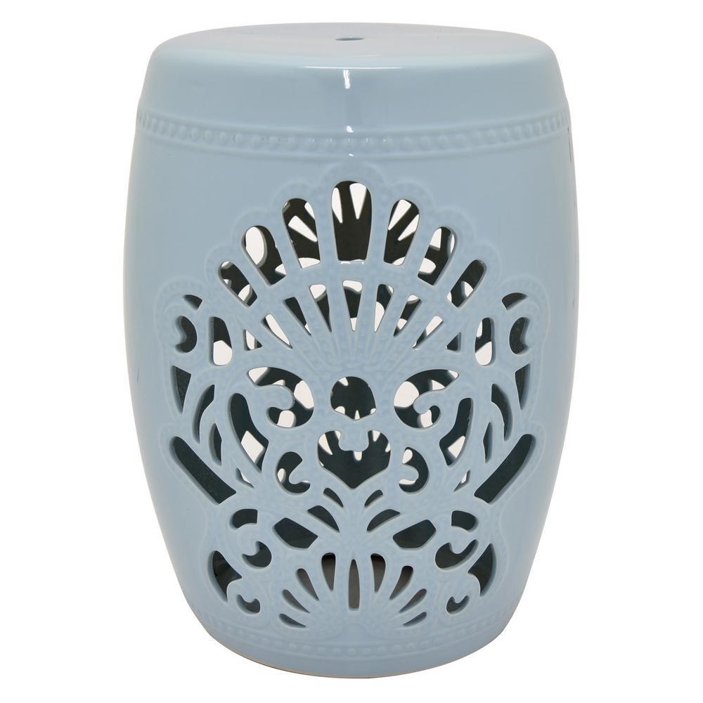 18.5 in. Light Blue Ceramic Garden Stool