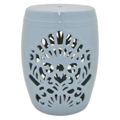 18.5 in. Light Blue Ceramic Garden Stool