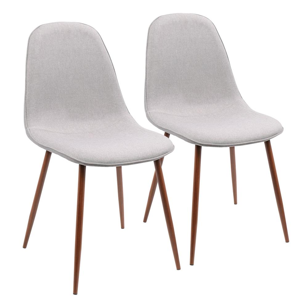 Lumisource Pebble Walnut And Grey Dining/Accent Chair (Set Of 2)