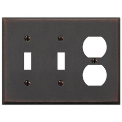 Manhattan 3 Gang 2-Toggle and 1-Duplex Metal Wall Plate - Aged Bronze