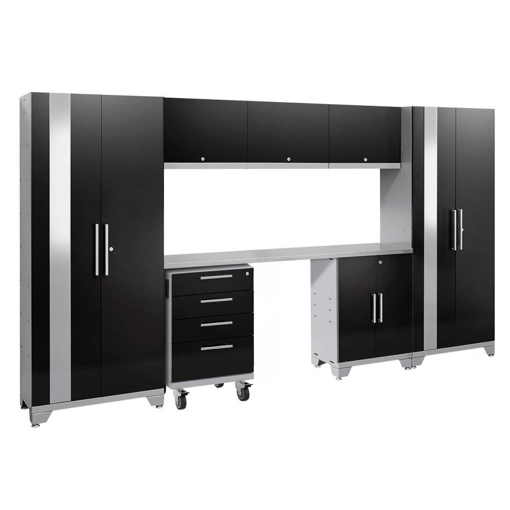 Performance 2.0 77.25 in. H x 132 in. W x 18 in. D Steel Stainless Steel Worktop Cabinet Set in Black 8-Piece)