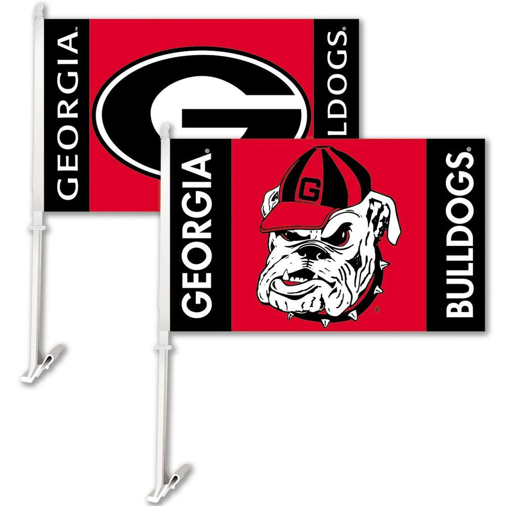 BSI Products NCAA 11 in. x 18 in. Georgia 2-Sided Car Flag with 1-1/2 ft. Plastic Flagpole (Set of 2)